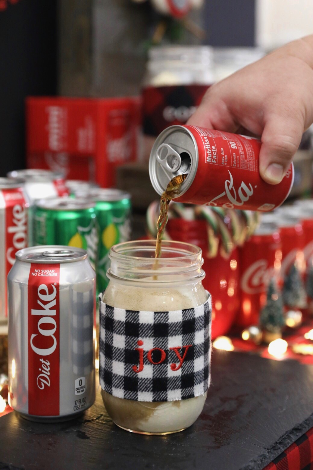 DIY Plaid Mason Jar Sleeve Christmas Holiday Season - Coke Float Recipe